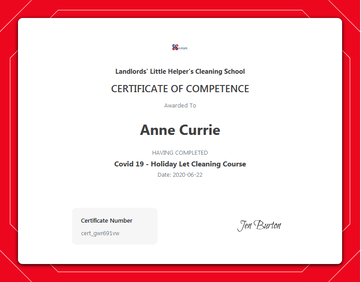 COVID-19 Certificate of Competence certificate