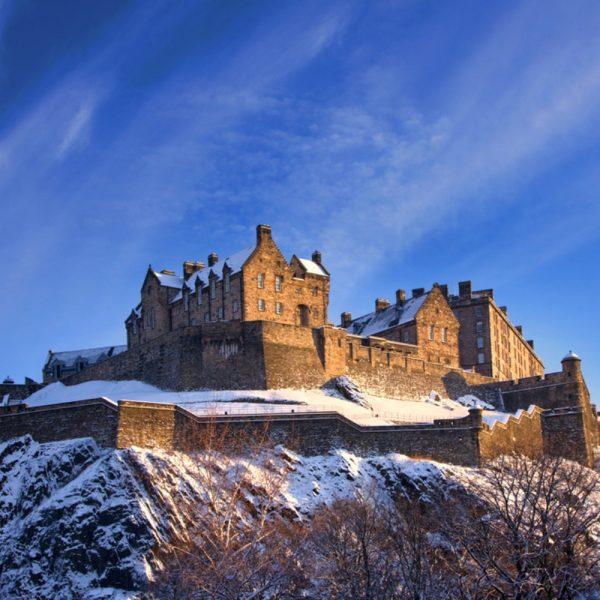 Edinburgh Castle in winter with snow