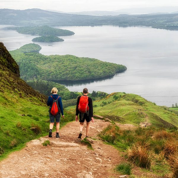Hikers on Conic Hill by Loch Lomond
