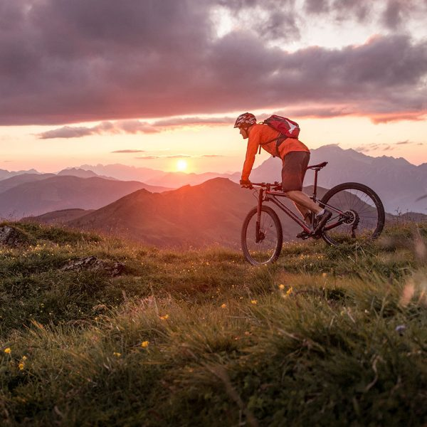 A mountain biker in the hills