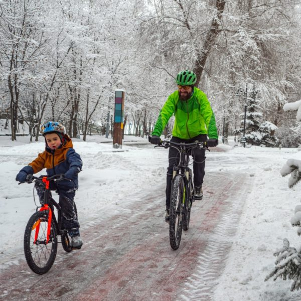 winter family cycling holiday