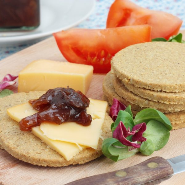 Ploughmans plater of oatcakes, cheese and salad