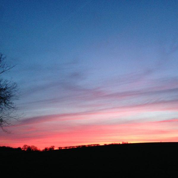 A sunset outside Ballat Smithy Cottage